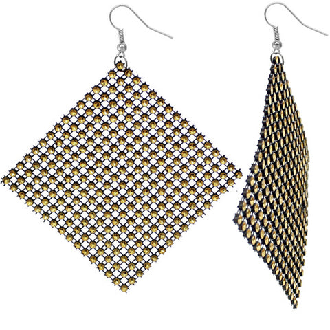 Gold Black Flat Rhinestone Mesh Earrings