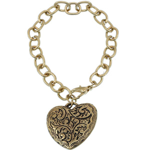 Gold Open Heart Charm Chain Bracelet