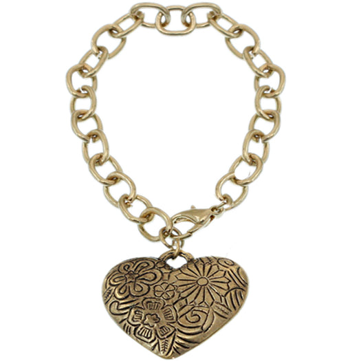 Gold Flower Heart Charm Chain Bracelet
