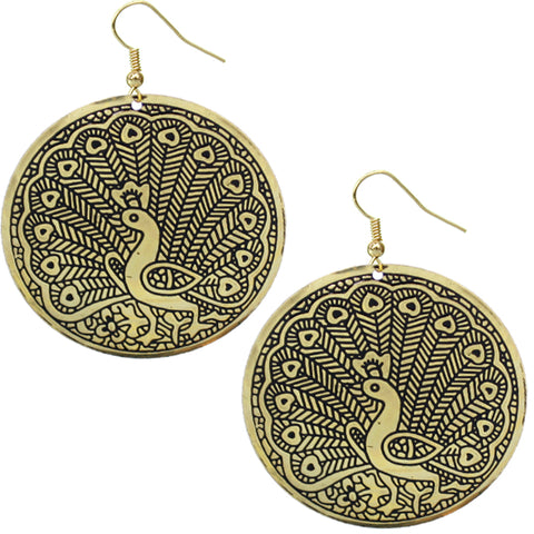 Gold Thin Round Peacock Earrings