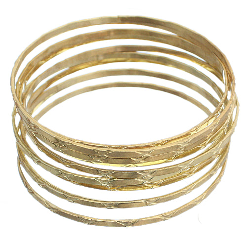 Gold Multi Line Stacked Bangle Bracelets