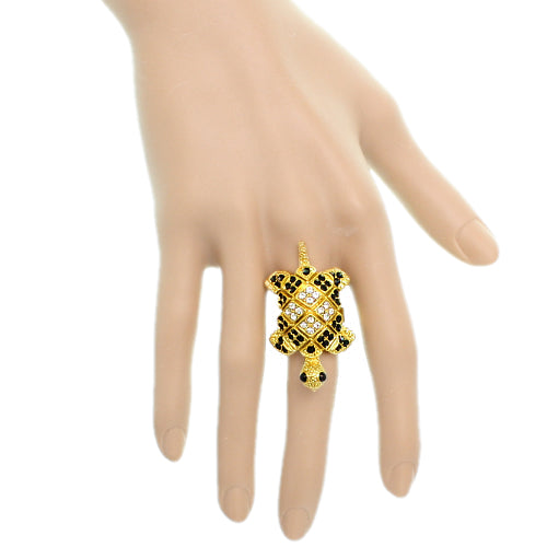 Gold Turtle Crawling Adjustable Ring