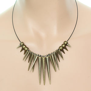 Antique Gold Spike Nylon Necklace Set