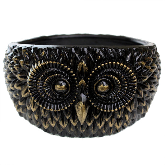 Gold Black Hoot Owl Hinged Bracelet