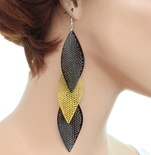 Yellow Glitter Long Earrings