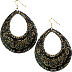 Gold Black Large Open Teardrop Earrings