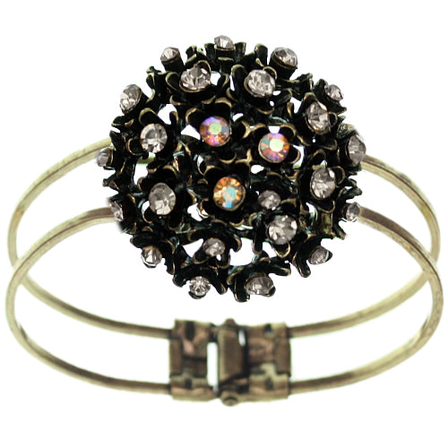 Clear Iridescent Flower Bouquet Hinged Bracelet