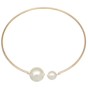 Gold Coil Faux Pearl Collar Choker Necklace