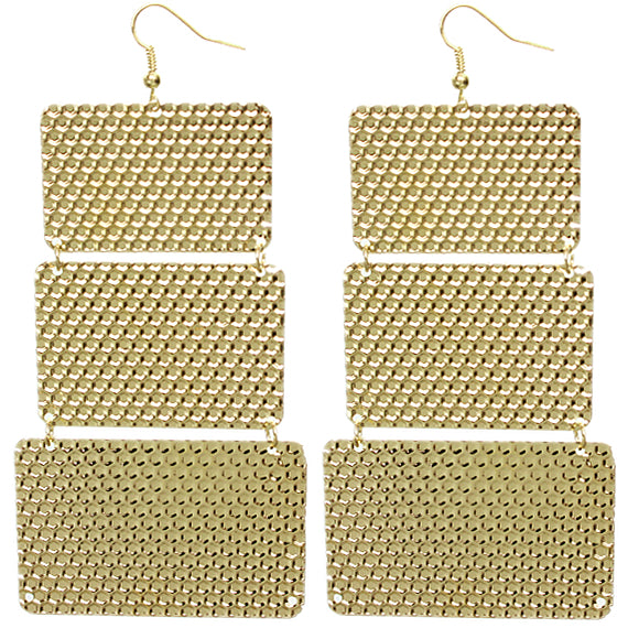 Gold Hammered Lightweight Dangle Link Earrings