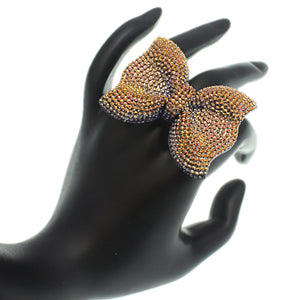 Gold Bronze Large Sparkle Bow Stretch Ring