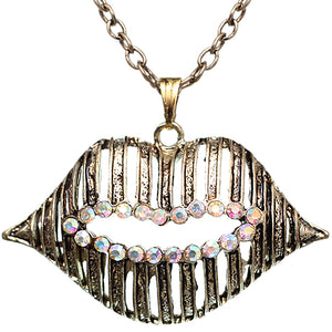 Gold Iridescent Charm Lips Chain Necklace