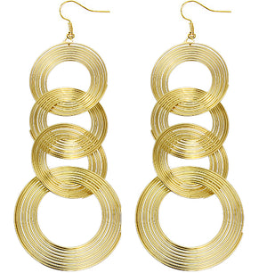 Gold Spiral Circular Hoops Earrings