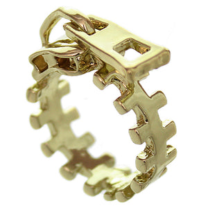 Gold Zigzag Zipper Pull Statement Ring