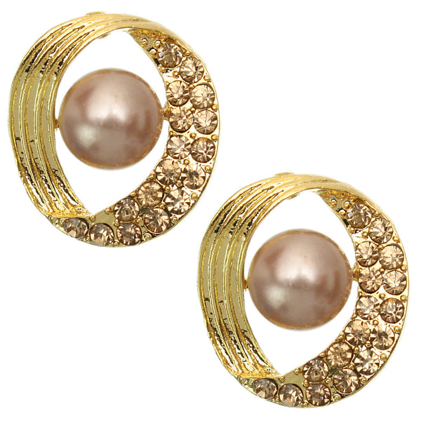 Gold Rhinestone Faux Pearl Post Earrings
