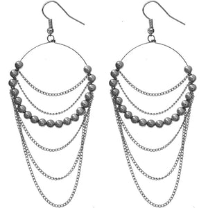 Hematite Beaded Drop Chain Hoop Earrings