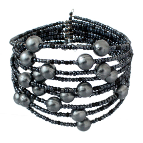 Blue Gray Beaded Coil Cuff Bracelet