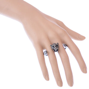 Hematite Cheetah Face Double Cuff Finger Ring