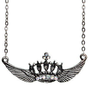 Silver Crown Double Wing Chain Necklace