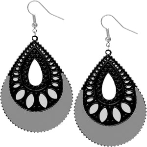 Gray Open Teardrop Earrings
