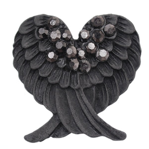 Gray Beaded Double Wing Adjustable Ring