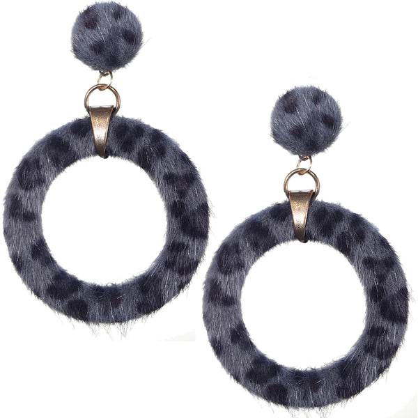 Gray Cheetah Faux Fur Hoop Earrings