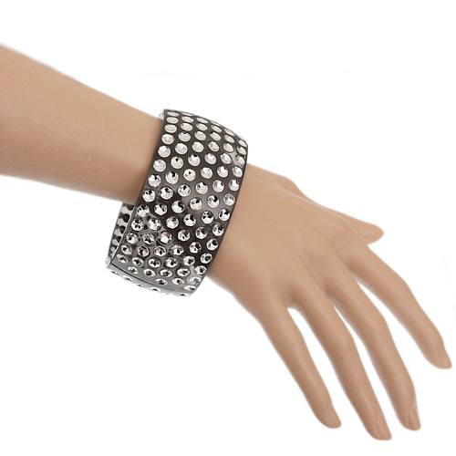 Gray Six Row Hinged Bracelet
