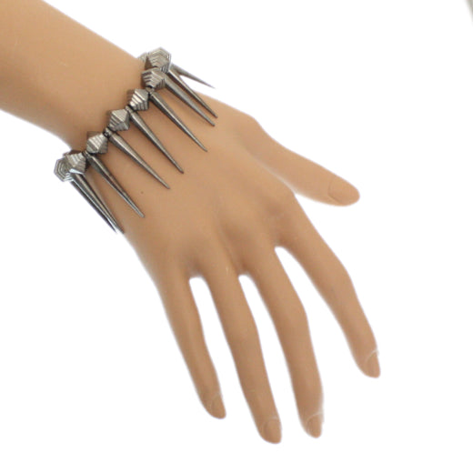 Gray Spiked Elastic Stretch Bracelet