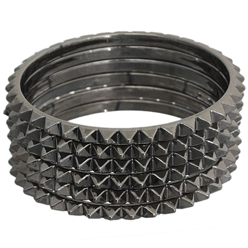Dark Gray Two-Tone Spike Stacked Bracelet