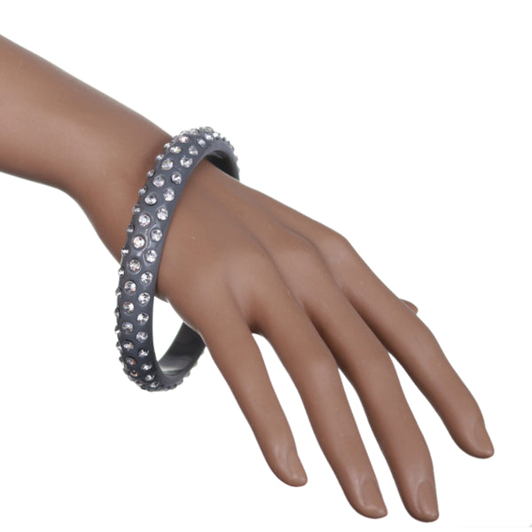 Gray Triple Row Rhinestone Bangle Bracelet