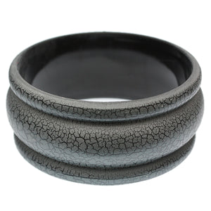 Gray Matte Crackle Bangle Bracelet