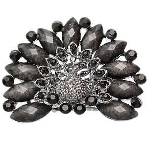 Black Rhinestone Peacock Stretch Ring