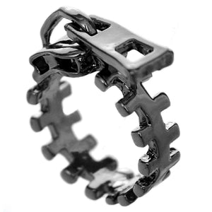 Pewter Zigzag Zipper Pull Statement Ring