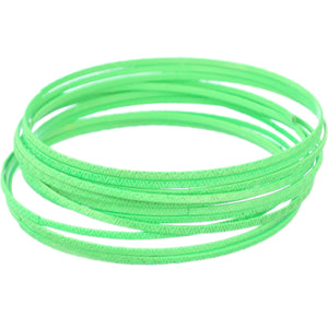 Green 11-Piece Thin Stacked Bracelets
