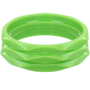 Green 3-Piece Flat Design Stacked Bracelets