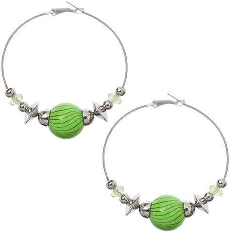Green Beaded Medium Hoop Earrings