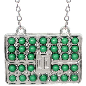 Green Beaded Charm Handbag Chain Necklace