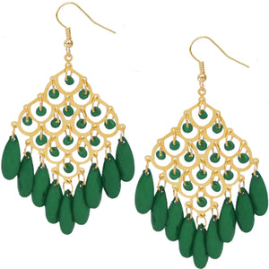 Green Beaded Dangle Chandelier Earrings
