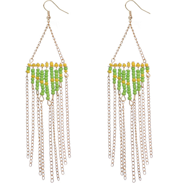 Green beaded drop down chain earrings