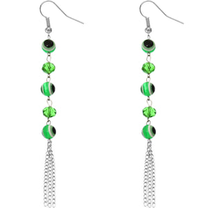 Green Beaded Evil Eye Chain Earrings