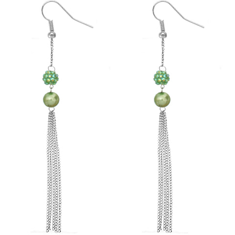 Green Beaded Fireball Chain Earrings