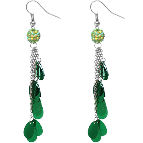 Green Beaded Fireball Confetti Chain Earrings