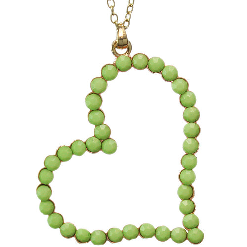 Green Beaded Heart Charm Chain Necklace