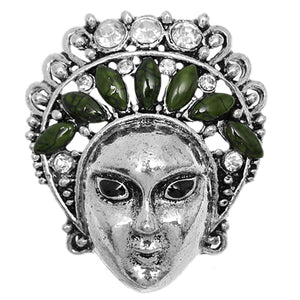 Green Beaded Rhinestone Female Face Adjustable Ring