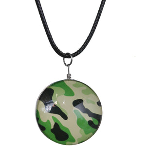 Green Black Camo Murano Glass Cord Necklace