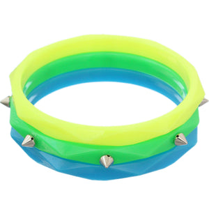 Green Blue Multicolor Spike Stacked Bracelets