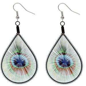 Green Blue Woven Teardrop Peacock Earrings