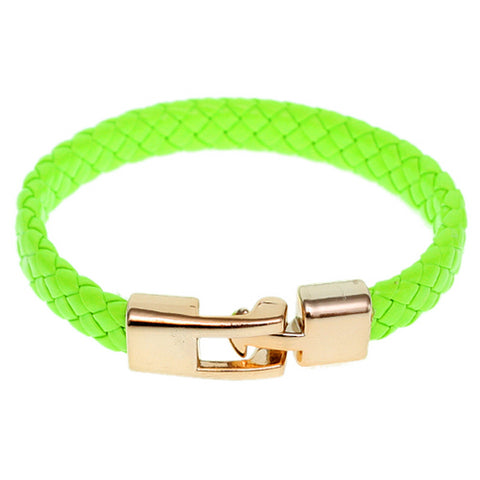 Green Braided Woven Leather Latch Bracelet