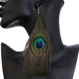 Green Brown Long Peacock Feather Earrings