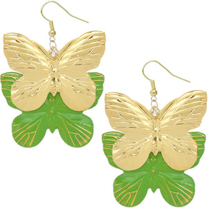 Green Metal Butterfly Dangle Earrings