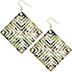 Green Extra Large Camo Cutout Earrings